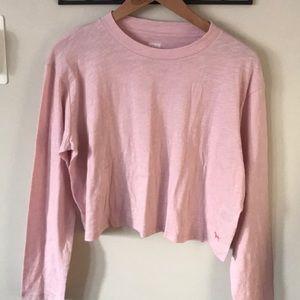Pink crop top long sleeve tee